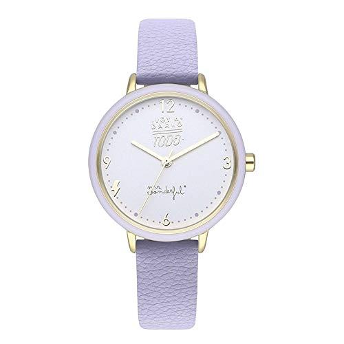 Mr wonderful Wonderful Time Reloj para Mujer Analógico de Cuarzo con Brazalete de Piel de Vaca WR20300