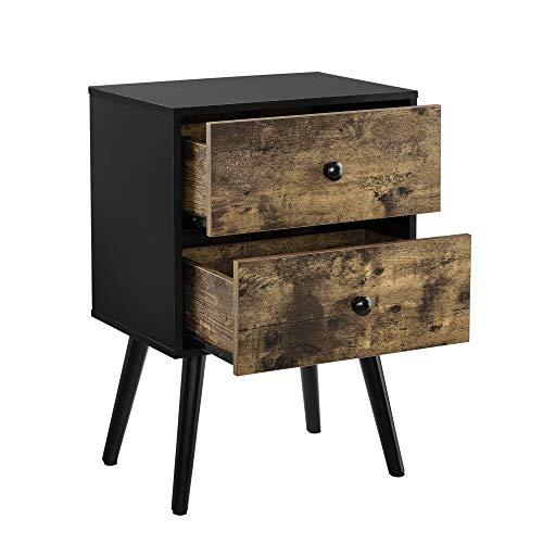 [en.casa] Bijzettafel met 2 lades nachtkastje hout en zwart