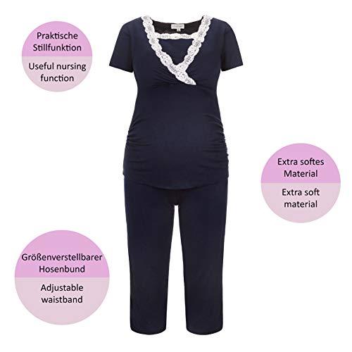 Herzmutter Pijama Corto para Embarazadas - Pijamas de enfermería - Pijama de Maternidad - Encaje - Azul-Rosa - 2500 (M, Azul)