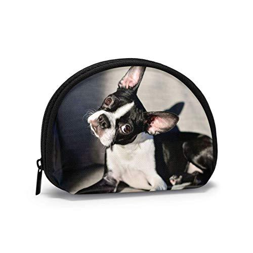 Bolsa de tela Oxford Terrier con cabeza inclinable para perro, monedero con cremallera pequeña, bolsa de cambio, bolsa de maquillaje para cosméticos, bolsas multiusos