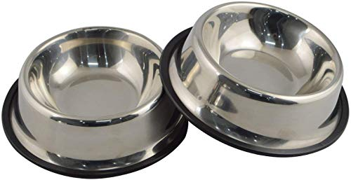 2x Jenell Stainless Steel Dog Bowl with Rubber Base for Small and Medium Dogs, Pets Feeder Bowl and Water Bowl Perfect Choice (Large)
