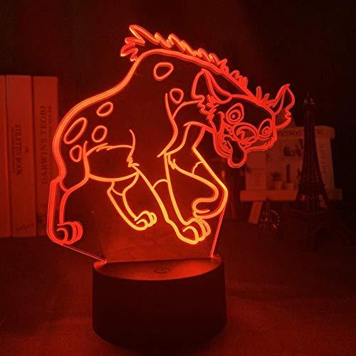 3D Led Lampe Illusion Lampe Nuit Simba Lion King Convient Pour Chambre Enfants Anniversaire Saint Valentin Cadeau - Noir Base_Coyotes