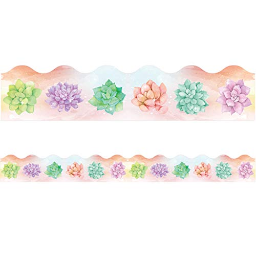 Watercolor Succulent Bulletin Board Border Trimmer for Classroom 36ft One Roll