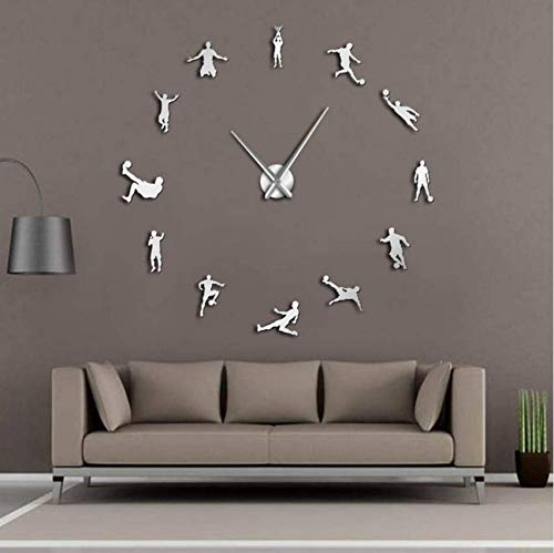 Hbbhbb Football Player Contemporary DIY Wall Clock Game Big Clock Table Children Football Fans Living Room Wall Decoration 27 inch