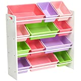 Amazon Basics Kids Toy Storage Organizer Bins - White/Pastel