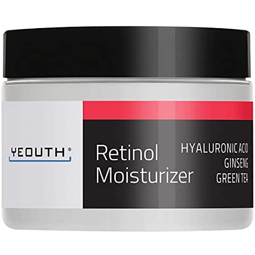 YEOUTH Crema idratante alla retinolo 2,5% per viso con acido ialuronico, ginseng e tè verde (1 ounce)