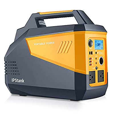 IPStank Portable Power Station, 634Wh Solar Generator Light Lithium Battery Pack and Flashlights, Emergency Backup Power for CPAP, Home, Camp, Travel (2X 110V AC Outlet, 3X USB Output, 3X 12V DC)