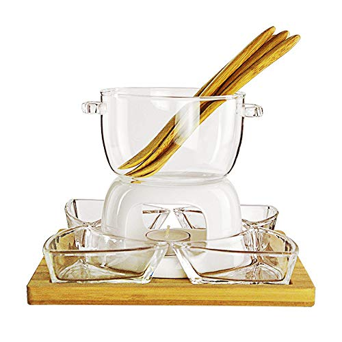 LFK Fondue-Set Keramik Weiß Borosilikat-Glas Porzellan Teelicht Käse Butter Schokoladen-Fondue-Set 700ML
