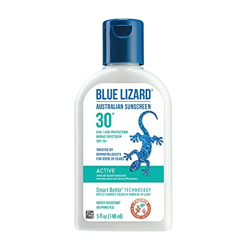 BLUE LIZARD Active Mineral Sunscreen with Zinc Oxide/SPF 30/Water & Sweat Resistant/UVA/UVB Protection with Smart Bottle Technology, Unscented, 5 Fl Oz
