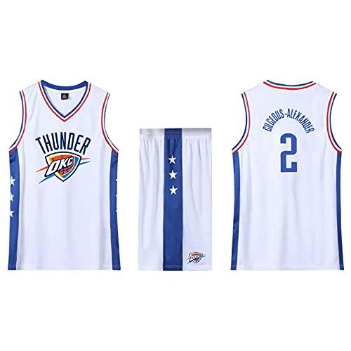 SPONYBORTY Conjunto de 2 piezas de camiseta sin mangas de entrenamiento de baloncesto y pantalones cortos Traje de camiseta Pantalones cortos deportivos Oklahoma City Thunder Jerseys + Pantal