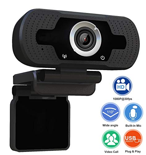Xinidc Full 1080P HD Webcam Built-in Microphone Camera USB Webcam for Laptops and Desktop External Wired Live Streaming Web Camera for Skype You Tube