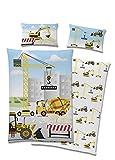 TexIdea - Set di biancheria da letto per bambini, motivo a scavatrice, copripiumino 100 x 135 cm, federa 40 x 60 cm, 100% cotone