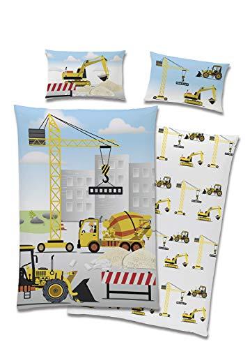 TexIdea süße Bagger Kleinkind-Bettwäsche Set, Wende-Motiv, Bett-bezug 100 x 135 cm, Kopfkissen-bezug 40 x 60 cm,100% Baumwolle Baustelle