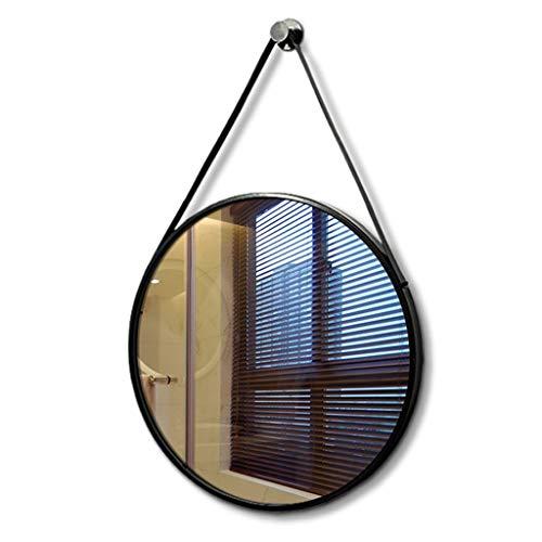 JJHOME-Miroirs Miroir Rond de 40-70cm avec Sangle Suspendue, Miroir Mural avec encadrement en Fer Moderne pour Montage Mural, Chambre à Coucher, Salle de Bains, Salon, Noir