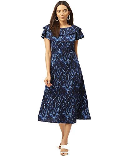 Cottinfab Women Blue & Black Printed A-Line Dress