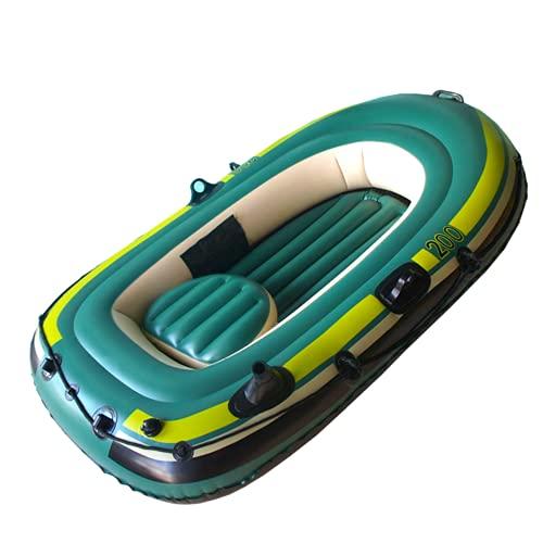BOROCO Schlauchboot 2 Personen Kajak Floß Kanu PVC Traglast 200kg Schnelles Aufblasen und Entleeren 200x120x35cm Grün zum Angeln Surfen Party Pool Strände Seen Flüsse