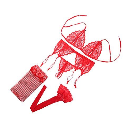 SJAKMA Ropa Interior,Sexy Conjunto De Lencería Roja Tentación Erotic Mujer Ropa Interior Conjunto Tanga Sujetador &Amp; Red Socks &Amp; Cabestrillo Lace Push Up Sujetador Transparente Establecida,C