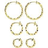 Mannli - Juego de 3 pares de pendientes de aro trenzados para mujeres y niñas, color dorado de 15 a 30 mm