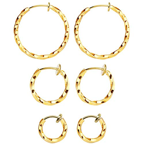Mannli - Set di 3 paia di orecchini a cerchio intrecciati a clip, per donne e ragazze, 15 – 30 mm