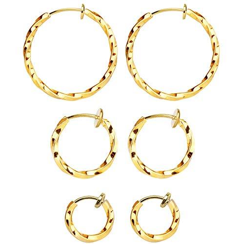 Mannli 3 Paar gedrehte Kreolen, Ohrringe, Ohrringe, Ohrringe, Ohrringe, Ohrringe, Set für Frauen und Mädchen, goldfarben, 15-30 mm