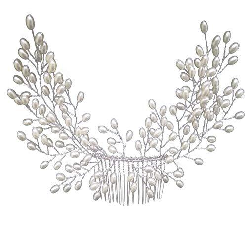 Peigne de Cheveux de mariée Bendable Crystal Accessoire de Cheveux pour Les Femmes Mariage pièce de tête Peigne de Cheveux côté (Blanc, Unique)