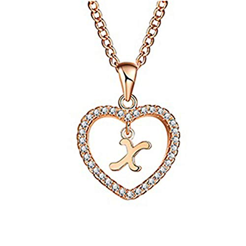 Concise Hollowed Heart Alphabet Unisex Fashional Necklace Neck Chain Pendant Decor Jewelry for Party Daily Anniversary Gift - Golden R