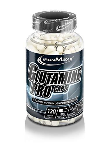 Ironmaxx Glutamin Pro Kapseln - 130 Stück - 100% Rinder Beef Gelatine - Wichtige Aminosäure - Beliebt für Muskelaufbau- & Muskelerhalt - Höchster Reinheitsgrad - Designed in Germany