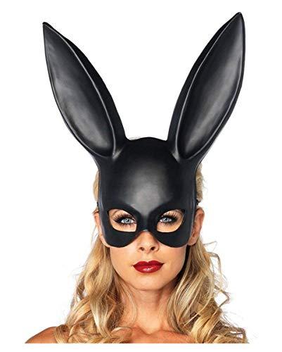 Horror-Shop Hasenmaske schwarz aus Kunststoff für Erotik Partys