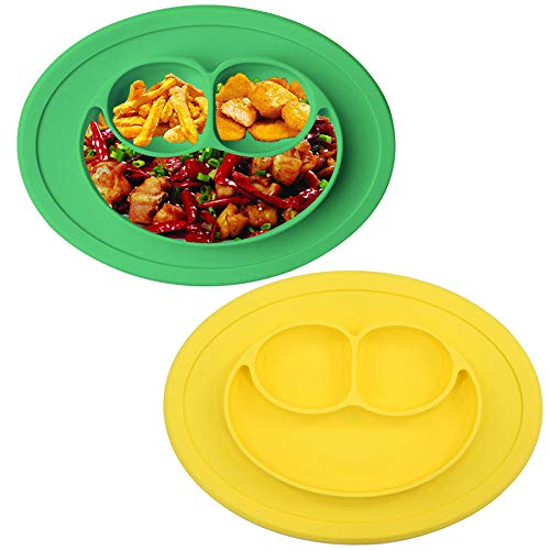 BESLIME Baby Teller, Silikon Rutschfester Baby Tischset mit Saugnäpf für Baby Kleinkind und Kinder, Kinderteller passend für die meisten Hochstuhl-Tabletts 2PCS (Gelb und Grün)