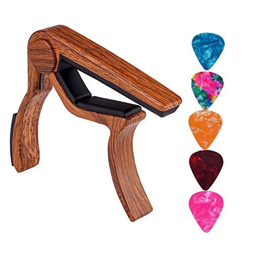 Cejilla de guitarra, con 5 paquetes de púas de guitarra, para guitarra acústica, guitarra eléctrica, bajo, ukelele (Rosewood)