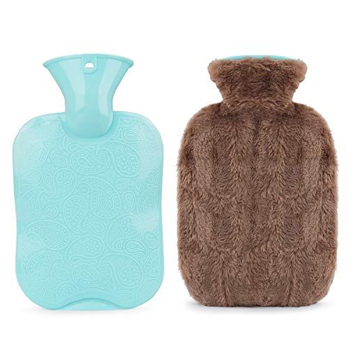 Idefair Wärmflasche mit Bezug, abnehmbarer, waschbarer Premium-Kunstpelzbezug, Wärmebeutel mit großem Fassungsvermögen zur Schmerzlinderung bei Wärmetherapie und Kältetherapie (Kaffee)