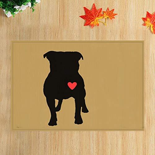 lovedomi Serie temática Dibujos Animados Corazón Rojo sobre Negro Silueta Perro Mascota sobre Alfombra baño Alfombra Antideslizante Puerta Entrada Piso Alfombrilla Delantera Interior para niños