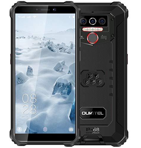 4G Teléfono Móvil Resistente 2020 OUKITEL WP5, Batería de 8000 mAh, Smartphone Impermeable IP6, 4 Luces de Flash LED, MTK6761 4GB + 32GB, 13MP + 2MP + 2MP, Android 9.0, Reconocimiento Facial Negro