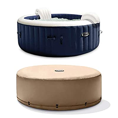 Intex PureSpa 4 Person Inflatable Portable Heated Bubble Jet Spa Hot Tub and Cover Package with Built In Heater Pump