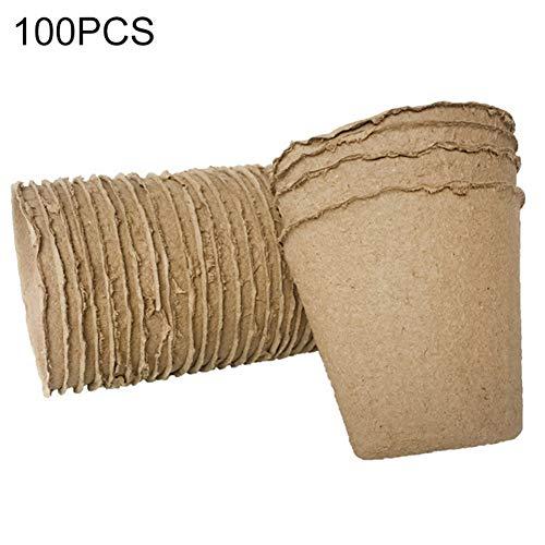 shoppingba 100 Stks Tuinzaad Celling Cultivatie Container Planten Kwekerij Papier Potten Biologisch afbreekbaar Zaailen Raising Cups BRON