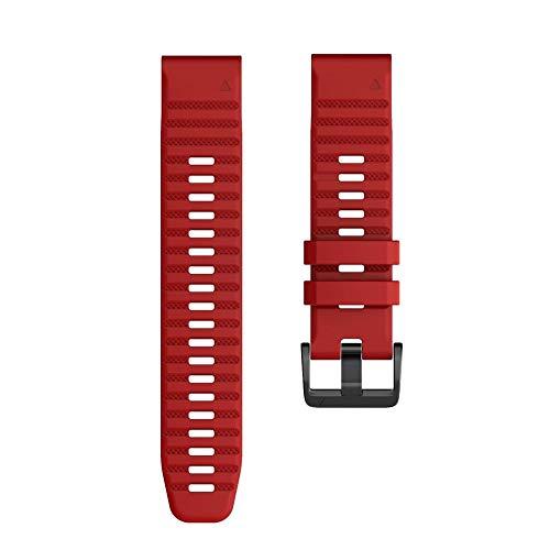 YOOSIDE for Fenix 6X Pro/Sapphire Silicone Watch Strap, 26mm Quick Release Easy Fit Soft Sport Waterproof Non-allergenic Wrist strap for Garmin Fenix 5X/5X Plus,Fenix 3,Quatix 3,Tactix Bravo (Red)