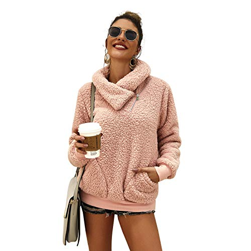 WYZTLNMA Warm Sweatshirt Women Autumn Winter Clothes Turn-Down Collar Plush Outwear Hoodies Long Sleeve Pullover Casual Top Pink