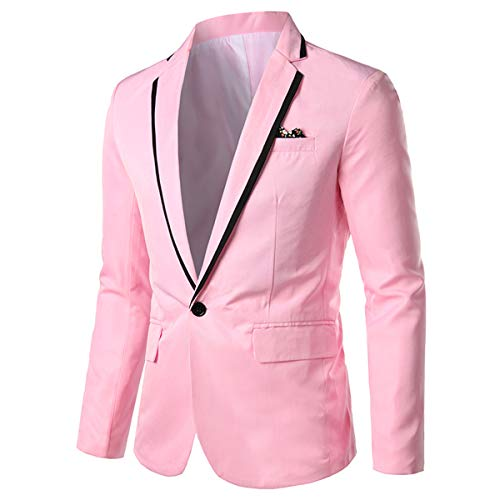 Mens Casual Slim Fit Suit Jacket 1 Button Daily Blazer Business Sport Coat Tops Pink