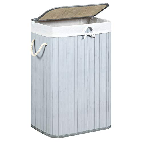 Cesto de ropa de bambú blanco. 72 L