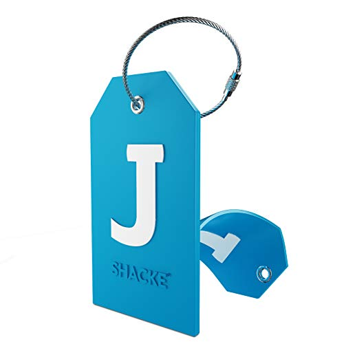 Initial Luggage Tag with Full Privacy Cover and Stainless Steel Loop (Aqua Teal) (J)