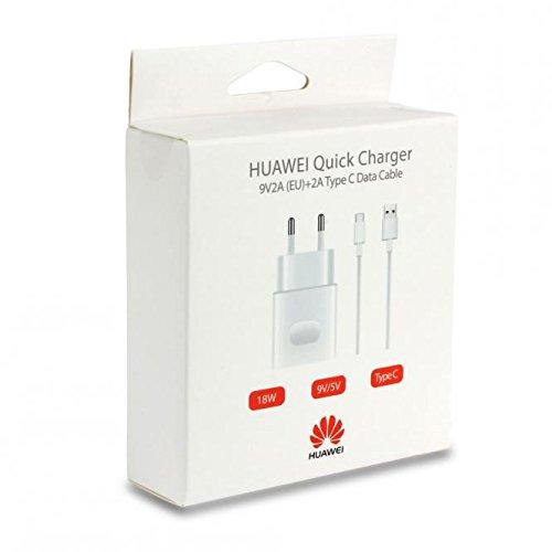 Cargador Original Huawei con Cable Type-C para P9 P10 Plus Mate 9 10 Honor 8 G9 Fast Charger Quick Charge Cargador, Carga rápida AP32 Blister Paquete Oficial 18 W