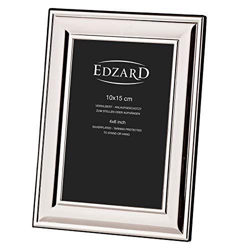 EDZARD Bilderrahmen Sunset für Foto 10 x 15 cm, edel versilbert, anlaufgeschützt, mit Samtrücken, inkl. 2 Aufhängern, Fotorahmen zum Stellen und Hängen