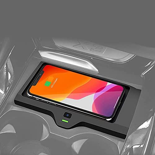 QXIAO Cargador de Coche Inalámbrico para BMW X3 X4 2019-2021 Accesorios de Control Central,Base Carga Inalámbrica,10W Estera Antideslizante Cojín Cargador del Teléfono Carga Rápida