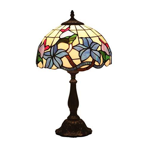 YWSZJ Lámpara de Mesa de la Vendimia, Pastoral Flora Manchado lámpara de la mesita de Cristal con Base de aleación de Zinc for el Dormitorio