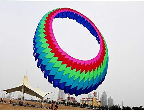 XiaoOu Schnur Drachen für Regenbogen weiche Rolle aufblasbaregroße Drachen Farbe Ring Anhänger Drachen Strand hochwertige Ripstop Nylon Drachen Wind Socke, 5 m