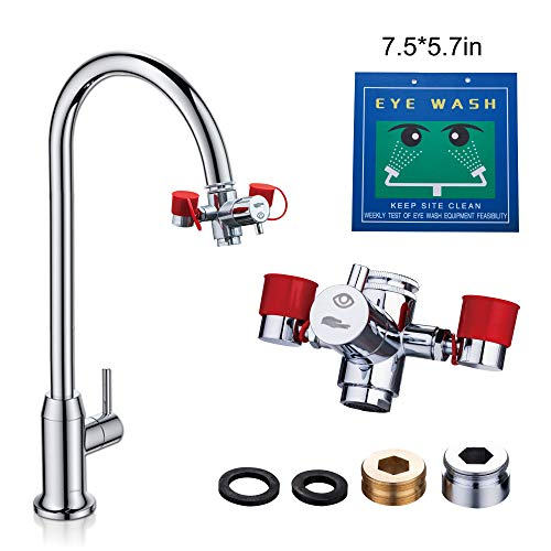 Emergency Eye Wash Station, Faucet Mounted Eyewash Station for Sink Attachment - Adjustable to Continuous Forward Flow