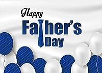 GooEoo 10x7ft 父の日を祝うテーマスタイルデザイン青と白のバルーンネクタイ写真背景写真スタジオブース背景家族休暇誕生日パーティー写真ビニール素材