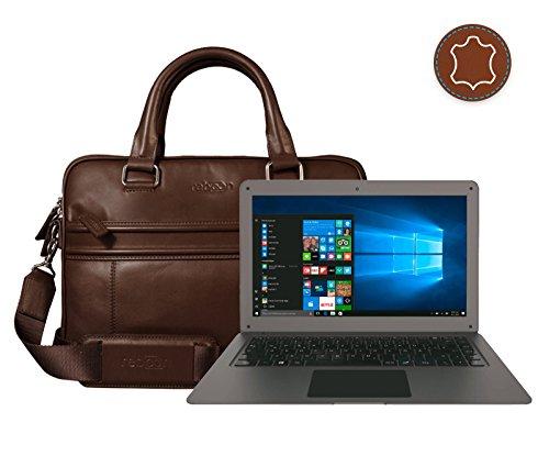 Leder Laptoptasche für Damen/Herren passend für TrekStor SurfBook W2 | Braun