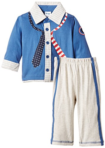 Dirkje 2-pce babysuit 'knitted blouse' Ensemble, Bleu (Mid Blue/Beige Mêlée), FR: 6 mois (Taille fabricant: 68) Bébé garçon
