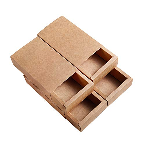 BENECREAT 16 Pack Scatole di Cartone Kraft 17.2x10.2x4.2cm Scatole Regalo di Festa Pacchetto Bomboniere, Matrimonio, Natale - Marrone